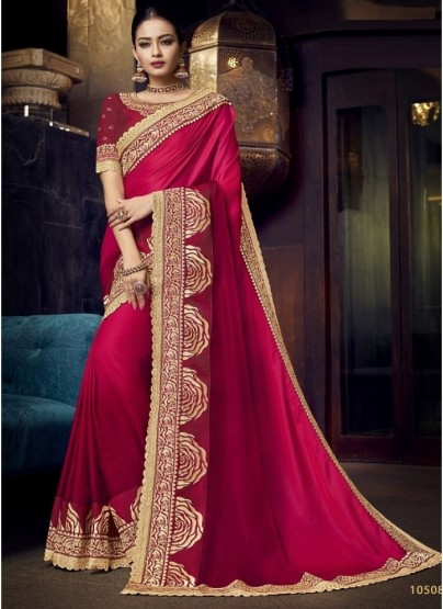 Magenta Satin Silk Embroidery Sare
