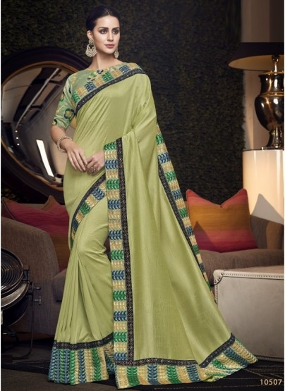 Lemon Grass Green Satin Silk Embroidery Saree