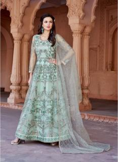 Light Green Net Ankle-Length Salwar Suit