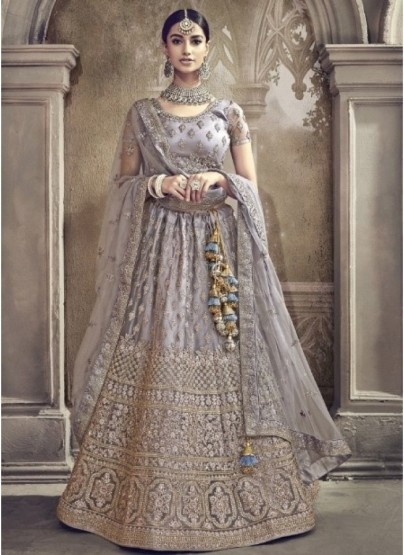 Gray Net Bridal Lehenga Choli