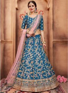 Sea Blue Art Silk Bridal Lehenga Choli