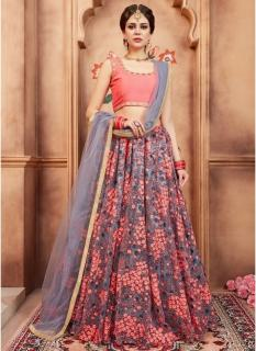 Gray & Peach Soft Net Bridal Lehenga Choli