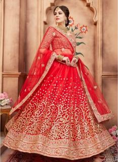 Red Soft Net Bridal Lehenga Choli