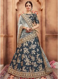 Dark Gray Art Silk Bridal Lehenga Choli