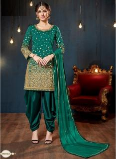 Sea Green Taffeta Silk Glass Work Salwar Suit