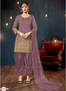 Light Purple Taffeta Silk Glass Work Salwar Suit
