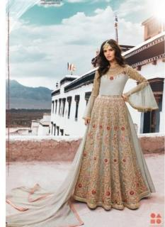 Gray Silk Ankle -Length Salwar Suit