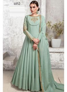 Light Sea Green Heavy Cotton Muslin Ankle-Length Readymade Suit
