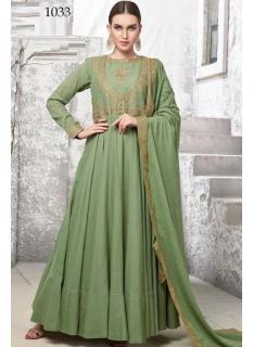 Green Heavy Cotton Muslin Ankle-Length Readymade Suit