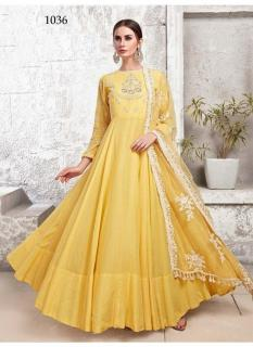 Yellow Heavy Cotton Muslin Ankle-Length Readymade Suit