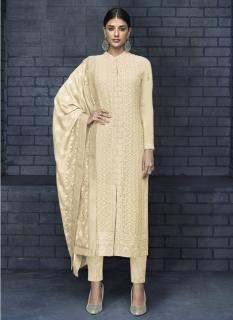 Cream Georgette Readymade Salwar Suit