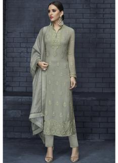 Gray Georgette Readymade Salwar Suit