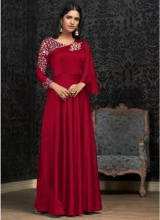 Red Georgette With Embroidery Work Floor-Length Readymade Gown