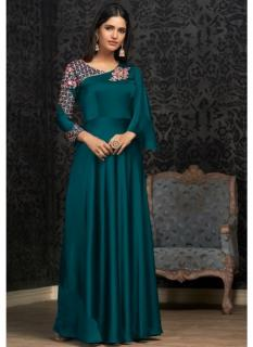 Sea Blue Georgette With Embroidery Work Floor-Length Readymade Gown