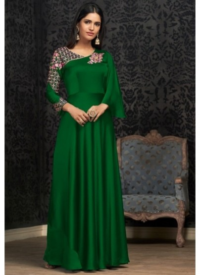 Green Georgette With Embroidery Work Floor-Length Readymade Gown