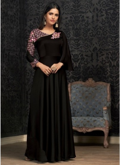 Black Georgette With Embroidery Work Floor-Length Readymade Gown