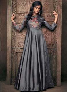 Dark Gray Triva Satin Silk Floor-Length Readymade Gown