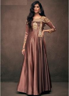 Chocolate Brown Triva Satin Silk Floor-Length Readymade Gown