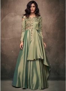 Olive Green Triva Satin Silk Floor-Length Readymade Gown