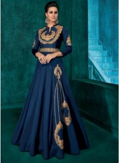 Blue Triva Silk With Heavy Embroidery Inner Stitched Floor-Length Readymade Gown