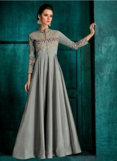 Gray Triva Silk With Heavy Embroidery Inner Stitched Floor-Length Readymade Gown