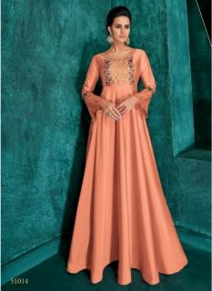 Peach Triva Silk With Heavy Embroidery Inner Stitched Floor-Length Readymade Gown