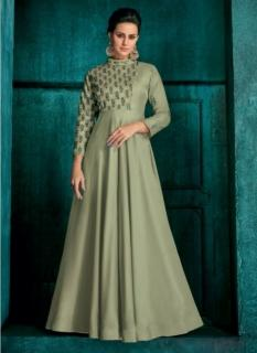 Celadon Triva Silk With Heavy Embroidery Inner Stitched Floor-Length Readymade Gown
