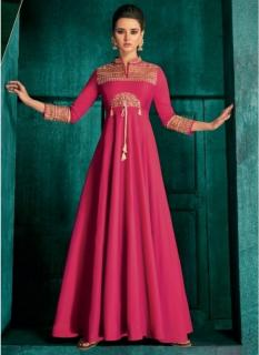 Pink Triva Silk With Heavy Embroidery Inner Stitched Floor-Length Readymade Gown