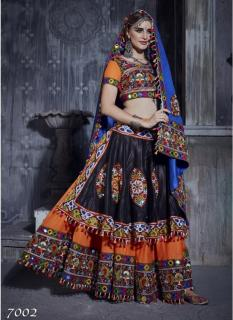 Multicolor Japanese Cotton Full Flare Navratri Special Lehenga Choli