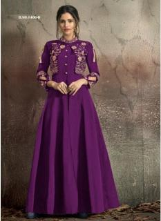 Dark Violet Soft Tapeta With Stitched Koti Style Floor- Length Readymade Gown