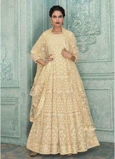 Off White Heavy Georgette Lakhnavi Work Ankle-Length Salwar Suit