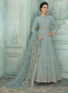 Light Gray Heavy Georgette Lakhnavi Work Ankle-Length Salwar Suit