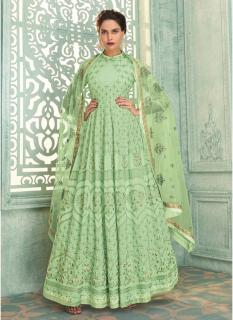 Pista Green Heavy Georgette Lakhnavi Work Ankle-Length Salwar Suit