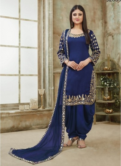 Dark Blue Art Silk Patiala Salwar Suit