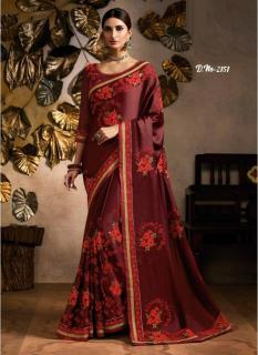 Maroon Star Satin Embroidery Saree