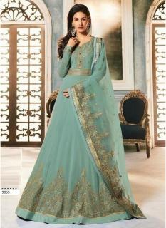 Mint Georgette Embroidery Ankle-Length Salwar Suit