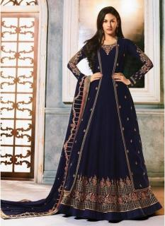 Dark Navy Blue Georgette With Jacket Ankle-Length Salwar Suit