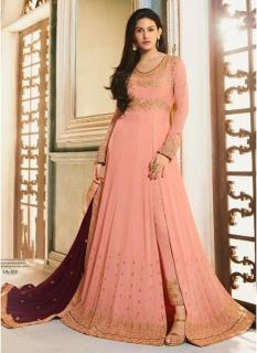 Salmon Silk Pure Embroidery Ankle-Length Salwar Suit