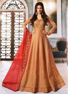 Ginger Silk Pure Embroidery Ankle-Length Salwar Suit