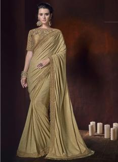 Gold Korean Fabric With Heavy Work Border Wedding Saree