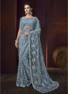 Bluish Grey Heavy Diamond Work Wedding Saree