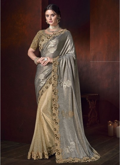 Gold China Fabric With Heavy Crystal Work Wedding Saree
