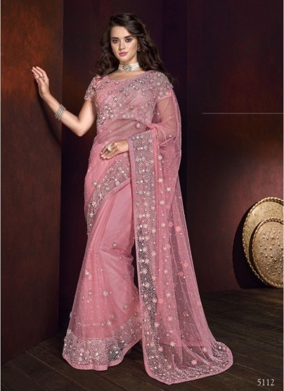Pink Net With Thread Work Wedding Saree