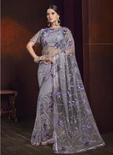 Gray Digital Net With Sequence Work Wedding Saree
