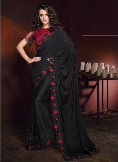Black Korean With Digital Skirt And Heavy Work Wedding Saree