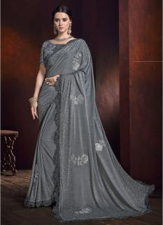 Gray Zari Work Wedding Saree