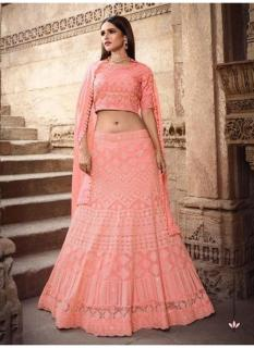 Peach Satin Georgette With Heavy Embroidery Lehenga Choli