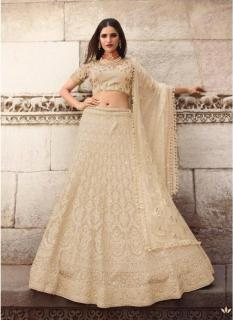 Beige Satin Georgette With Heavy Embroidery Lehenga Choli