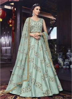 Mint Pure Silk Ankle-Length Salwar Suit