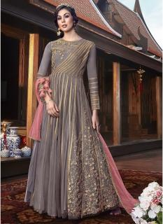 Light Violet Net Jacket Ankle-Length Salwar Suit